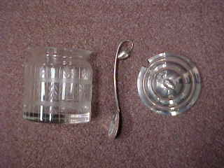 92260 Sterling Silver Etched Crystal Jelly Jar W Original Spoon Jam Or Honey Maker Unknown 5 H No Mono